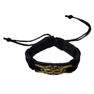 Men Style New Fashion Antique Bronze Crown Mask Friendship With Cotton Dori Clasp Black Leather Round Braceletsbr08029)