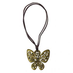Men Style Fashion Retro Charm Hollow Out Butterfly Gold Bronzelearther Insect Pendant For Men And Women (product Code - Spn08030)
