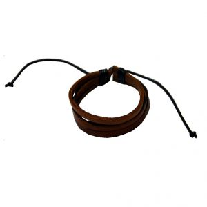 Men Style Handmade Multilayer Geniune Leather With Cotton Dori Clasp Brown Leather Flat Bracelet For Men And Women (product Code - Sbr08035)