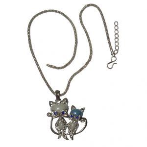 Men Style Large Blue And White Crystal Cat Kitten Animal Blue And White Alloy Animal Pendant For Women And Girl Spn08041)