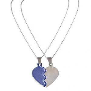 Men Style 2016 New ColourFull Couples Brokenheart Love Blue And Silver Stainless Steel Heart Pendant For Men And Women (Product Code - SPn08059)