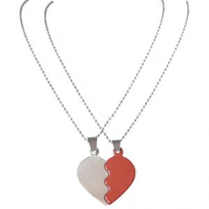 Men Style 2016 New Fashion Couples Brokenheart Love Necklace Red And Silver Stainless Steel Heart Pendant For Men And Women (product Code - Spn08060)