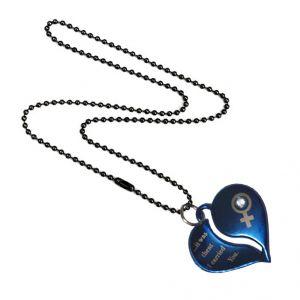 Men Style New Arrival Crystal Broken Heart Love  Blue Steel Heart Pendant For Men And Women (Product Code - SPn09005)
