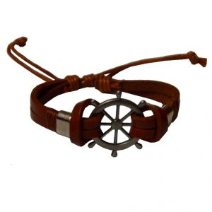 Men Style Ship Wheel Titanium Steel With Lace Up Brown Leather Boat Wheel Bracelet For Men And Women (product Code - Sbr09012)