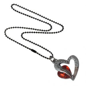 Men Style Love Heart Romanatic Red Crystal Heart Love Silver Alloy Heart Pendant For Men And Women (product Code - Spn09017)