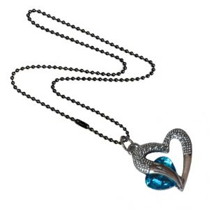 Men Style Love Heart Romanatic Blue Crystalblack Ball Chain Silver Cubic Zirconia Heart Pendant For Women And Girls (product Code - Spn09023)