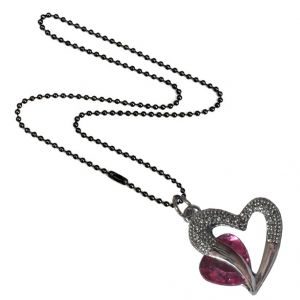 Men Style Love Heart Romanatic Pink Crystalblack Ball Chain Silver Cubic Zirconia Heart Pendant For Women And Girls (product Code - Spn09024)