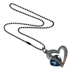 Men Style Love Heart Romanatic Light Blue Crystalblack Ball Chain Silver Cubic Zirconia Heart Pendant For Women And Girls (product Code - Spn09025)