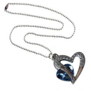 Men Style Love Heart Romanatic Light Blue Crystalsilver Ball Chain Silver Cubic Zirconia Heart Pendant For Women And Girls (product Code - Spn09027)