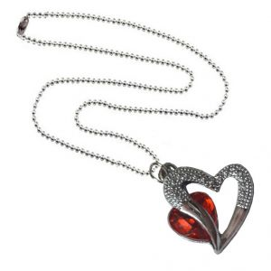 Men Style Love Heart Romanatic Redcrystalwith Silver Ball Chain Silver Cubic Zirconia Heart Pendant For Men And Women (product Code - Spn09031)