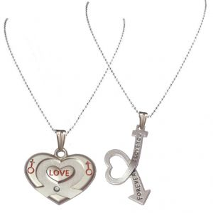 Men Style Couple His And Her I Love You Forever Male And Female Symbol Silver Zinc Alloy Heart Pendant For Men And Women (product Code - Spn09032)