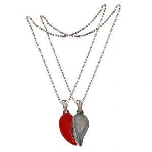 Men Style Couples Broken Heart Mangnetic Love Gold And Silver 316 L Stainless Steel Heart Pendant For Men And Women (product Code - Spn09071)