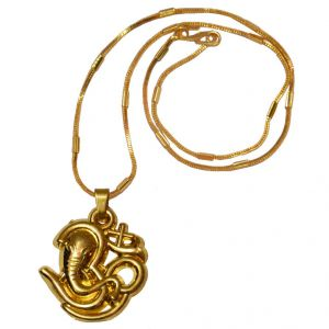 Men Style Loard Shree Ganesh Popular Om SPn09073 Gold Alloy Pendant For Men And Women (Product Code - SPn09074)