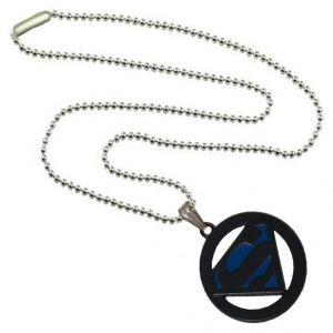 Men's Pendants - Men Style Superman Inspired SPn09078 Blue And Black Alloy Circle Pendant For Men And Women (Product Code - SPn09078)