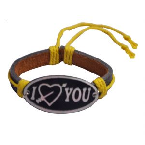Men Style Black I Love You Tribal Style Bracelet