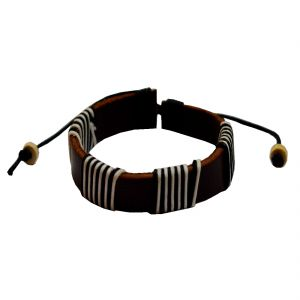 Men Style Classic Brown Leather Round Bracelet For Boys