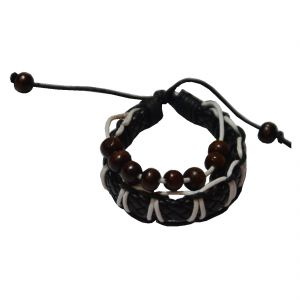 Men Style Genuine Leather With Wooden Bead Brown Leather Round Bracelet For Boys