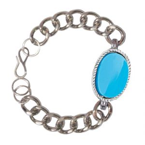 Men Style Salman Khan Inspired Blue Alloy Oval Tone Bracelet For Men And