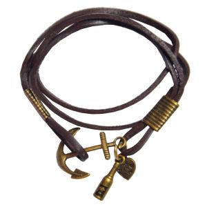 Men Style Rope Brown Leather Anchor Bracelet For Men And Boy