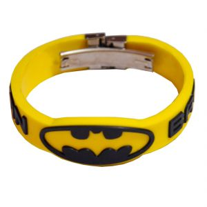 Men Style Batman Inspired Embossed Silicone Wristband With Lock -black Yellow