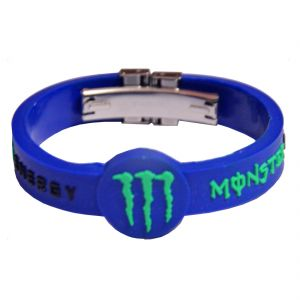 Men Style Monster Energy Inspired Embossed Silicone Wristband With Lock -bl