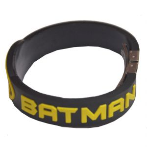 Men Style Batman Inspired Embossed Silicone Wristband With Lock -black Bla