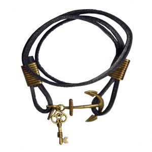 Men Style New Design Anchor Key Black Leather Anchor Bracelet For Men And