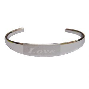 Men Style Silver Love Half Silver Alloy Kada For Men And Women