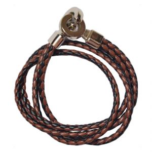 Men Style High Quality Stainless Steel Double Braided Brown Black Leather