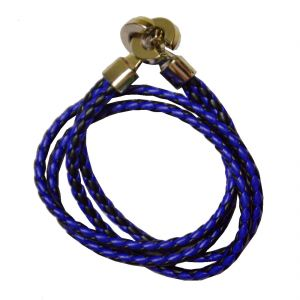 Men Style Best Quality Stainless Steel Double Braided Blue Black Leather