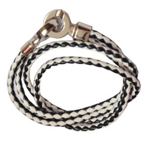 Men Style Super Quality Stainless Steel Double Braided White Black Leather Bracelet For Men And Women