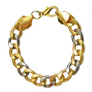 Men Style Dualtone Gold-silver Link Multicolor Alloy Bracelet For Men