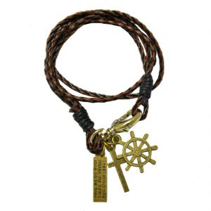 Men Style Rope Cuff Handmade Braided Brown Leather Charm Bracelets For Men Sbr04001