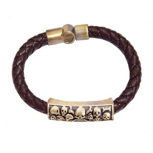 Men Style New Charm Leather Braided Bracelet And Stainless Steel Magnetic Clasp Bracelets Brown Leather Bracelet For Men Sbr05016