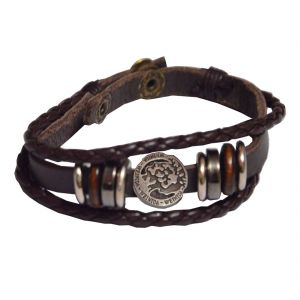 Men Style Brown Leather Bracelet For Men And Women Sbr05024