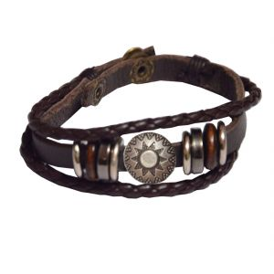 Men Style Brown Leather Bracelet For Men And Women Sbr05025