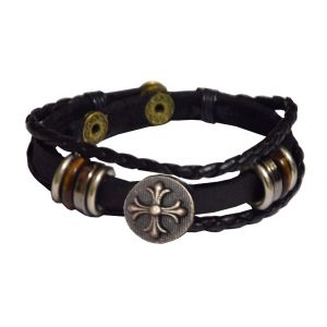 Men Style Black Leather Bracelet For Men And Women Sbr05028