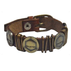 Men Style Collection Tone Brown Faux Leather Flat Bracelet For Men And Women