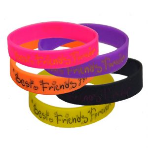 Men Style Hot Selling Combo -5 Colour Best Friend Forever Multicolour Silicon Round Bracelet For Men And Women Sbr07014