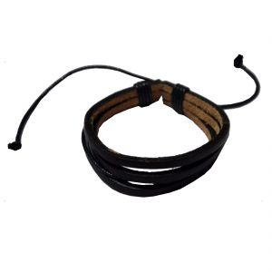 Men Style 2016 New Design Handmade Leather With Cotton Dori Clasp Black Leather Flat Bracelet