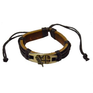 8843edd52b0 Men Style New Fashion Antique Bronze Lucky Friendship With Cotton Dori  Clasp Black Leather Round Bracelet. Rs.599 Rs. 299