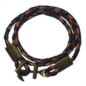 Men Style Gold Steel Anchor Cuff Multi Color Faux Woven Black And Brown Leather Round Bracelet