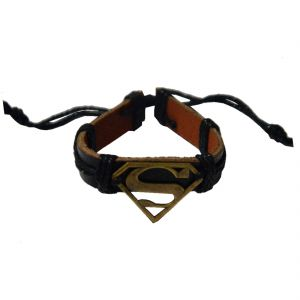 Men Style Handmade Superman Inspired Zinc Alloy Charm Bracelets With Lace Up Black Bracelet
