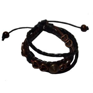 Men Style Multilayer Studed With Cotton Dori Clasp Genuine Leather Wrap Around Bracelet
