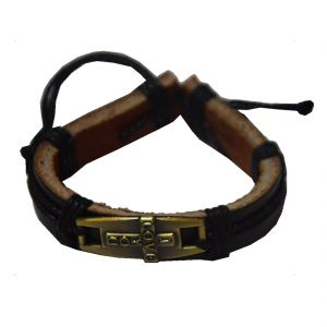 d5ae4f39204773 Men Style New Fashion Love Jesus Cross Tone Friendship With Cotton Dori  Clasp Black Leather Round Bracelet