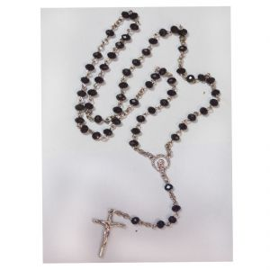 Men Style Hot Selling 5 MM Bead Catholic Rosary Cross Pendant Black Crystal Link Necklace