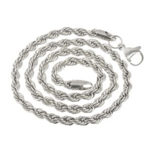 Men Style 5mm 14k White Silver Rope Design Chain Necklaces (24 Inch Long) Silver Stainless Steel Rope Chain