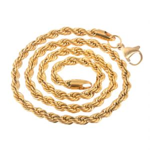 Jewellery - Men Style 5mm Gold Plated Rope Design Chain Necklaces (22 Inch Long) Gold Stainless Steel Rope Chain