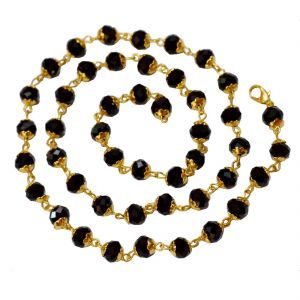 Men Style 5mm Bead Crystal Gold Plated (25 Inch Long) Black And Gold Crystal Bead Necklace Chain For Men And Women