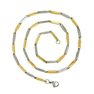 Men Style Plain Classic Design Pattern Dual Tone Geometry Gold And Silver Stainless Steel Reactangle Link Chain